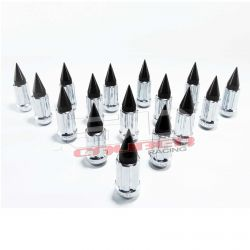 Tapered Splined Lug Nuts Chrome with Removable Spike  - 3/8 x 24 Thread Pitch