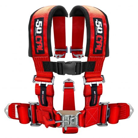 """50 Caliber Racing 5 Point Safety Harness - 3"""" Wide Straps & Antisubmarine Crotch Strap - Red Color"""