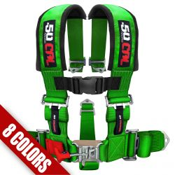 "50 Caliber Racing 5 Point Safety Harness - 3"" Wide Straps & Antisubmarine Crotch Strap - Many Colors Available"