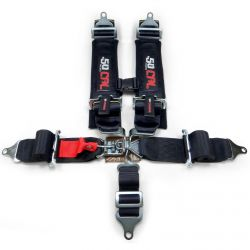"SFI Approved 3"" 5 Point Black Safety Harness with Date Tags for Sanctioned Racing"