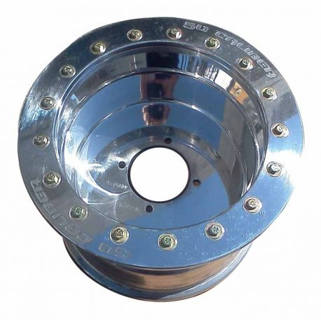 50 Caliber Racing Beadlock Wheel 12x7, .190 Thick - 4x110 Bolt pattern - 4/3 Offset - Polished Aluminum