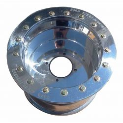 50 Caliber Racing Beadlock Wheel 12x8, .190 Thick - 4x110 Bolt pattern - 4/4 Offset - Polished Aluminum