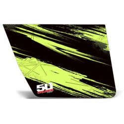 50 Caliber Racing RZR Door Vinyl Graphics Sticker Kit - Black / Evasive Green