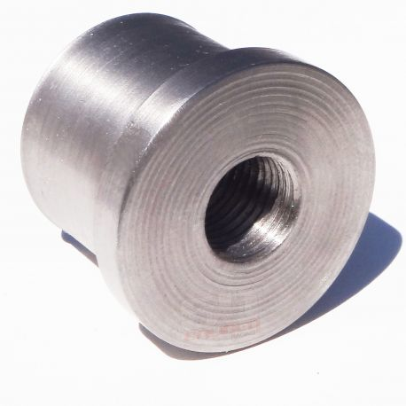 """Flanged Threaded Through Weld In Bung - 1.25"""" .095 Round with 1/2"""" x 20 Threads"""