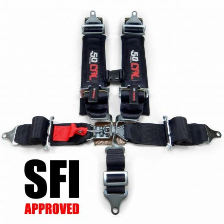 """SFI Approved 3"""" 5 Point Black Safety Harness with Date Tags for Sanctioned Racing"""