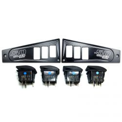 Polaris Ride Command 6 Switch Dash Panel Black 2 Piece Combo with 4 Free Waterproof Carling Illuminated 12V Switches