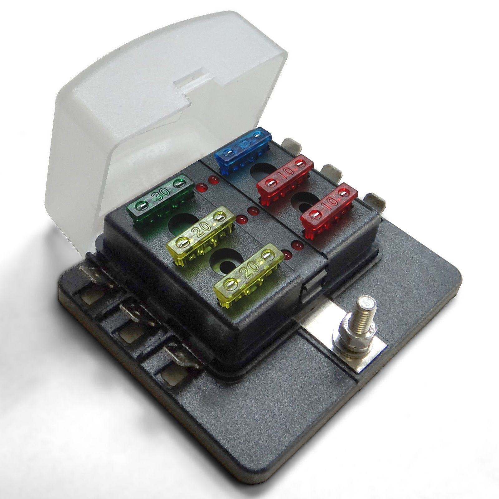 [DVZP_7254]   Universal 6 Way Covered 12V Circuit Blade Fuse Box with LED Indicators and  Accessories | Custom 12v Fuse Box |  | UTVDUDE