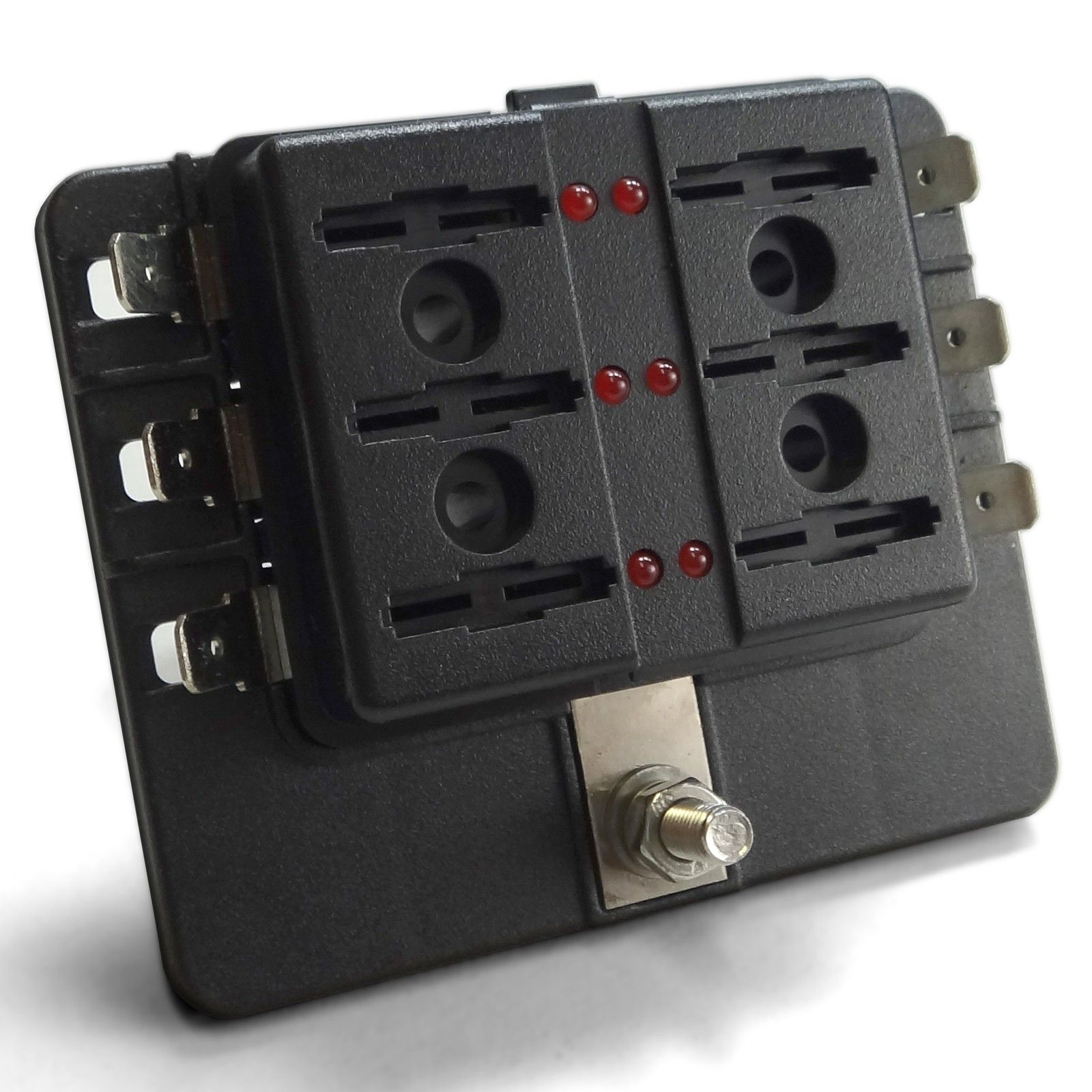 Universal 6 Way Covered 12v Circuit Blade Fuse Box With Led Indicators And Accessories