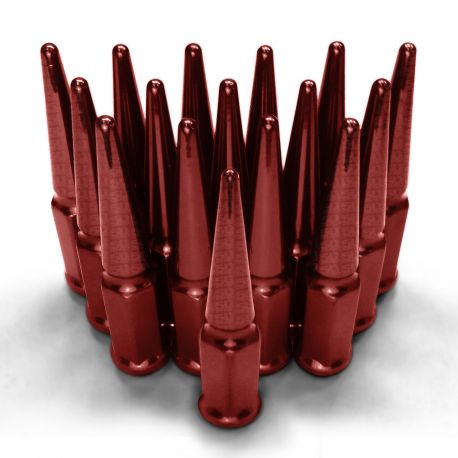 12x1.5mm Extended Spike Lug Nuts - Acorn Taper - 50 Caliber Racing - 16 Pack for 4 Lug Vehicles - Red Finish