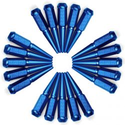 9/16 Inch Extended Spike Lug Nuts - Acorn Taper - 50 Caliber Racing - 20 Pack for 5 Lug Vehicles - Blue