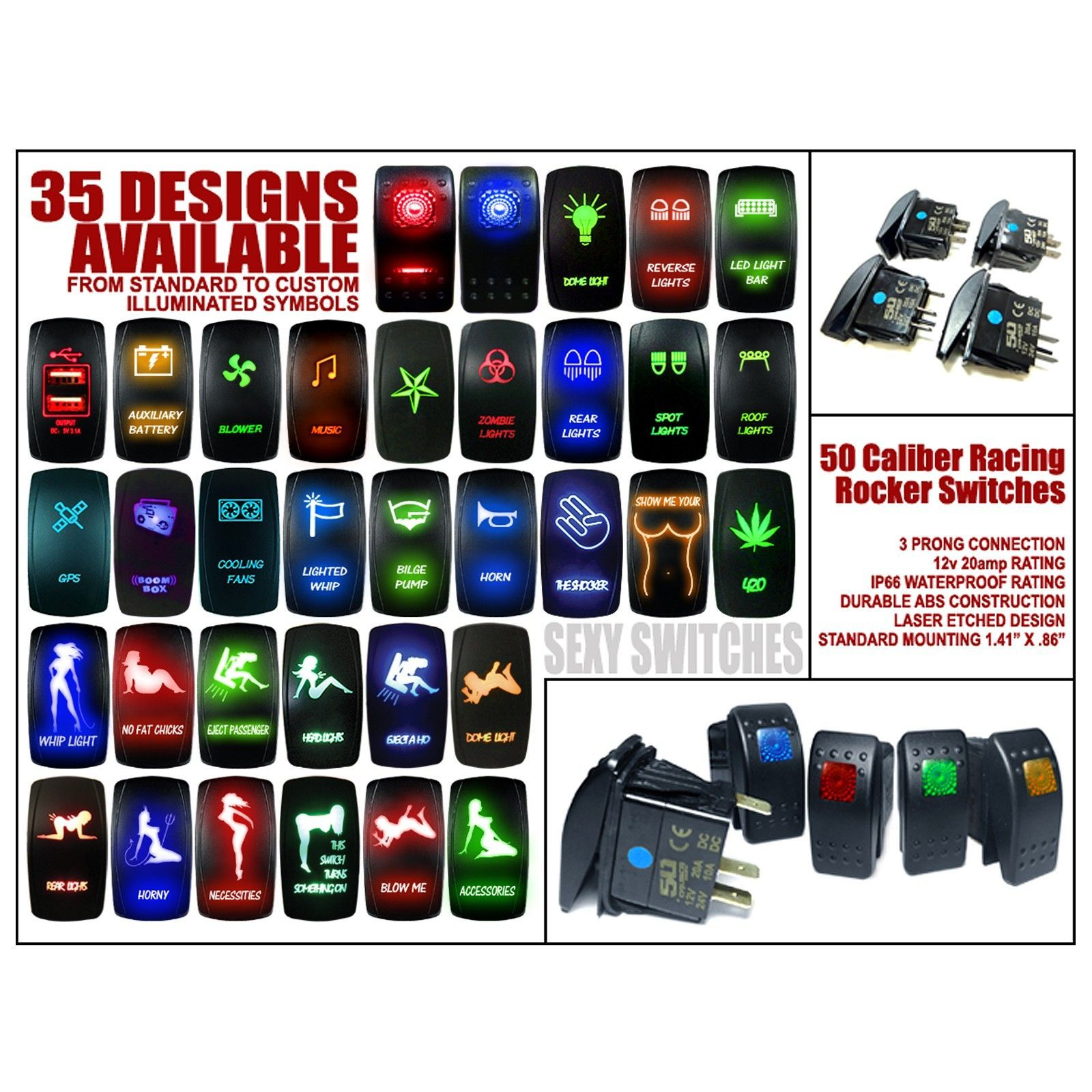 Rocker Switches Spst Switch 12v Lighted Mpjacom Illuminated Caliber Racing On Off With Laser Etched Design 1600x1600