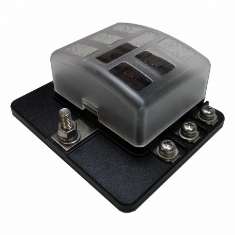 6 Way 12V Circuit Fuse Block - LED Indicators - Ring Terminals