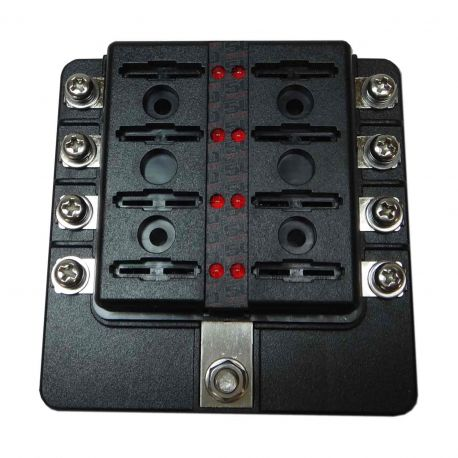 8 Way 12V Circuit Fuse Block - LED Indicators - Ring Terminals