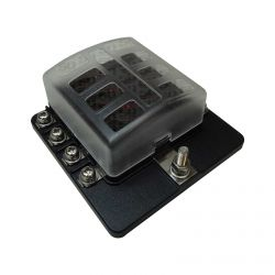 8 Way 12V Circuit Fuse Block - LED Indicators - Ring Terminals