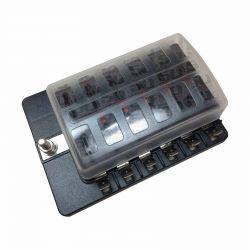 12 Way 12V Circuit Fuse Block - LED Indicators - Blade Terminals