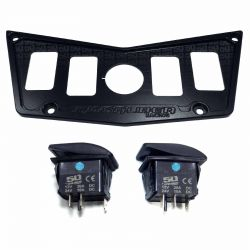 CNC Billet Aluminum 4 Hole Dash Panel for RZR 570 800 & XP900 - Stealth Black Combo with 2 Switches