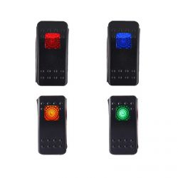 50 Caliber Racing ON/OFF Waterproof Rocker Switch, LED Backlit Available in Red Blue Green & Orange