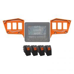 "Custom 2 piece CNC Billet Aluminum Dash panel - Polaris 1st Gen 4.3"" GPS RZR XP 1000, S 900,Trail & XC Orange Madness"