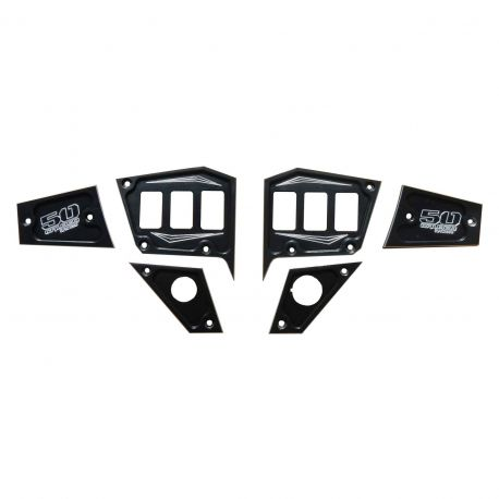 2 Piece 6 Switch Dash Panel Plates Polaris RZR XP 1000 2 /& 4 seat Stealth Black