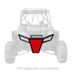 50 Caliber Racing RZR Front Bumper - Black Powdercoat frame with Red Aluminum Skidplate and Light Bar Tabs