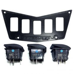 50 Caliber Racing Billet Aluminum 5 Switch Hole Dash Panel - Adds 3 Rocker Switch Mounting Locations - Black Powdercoat