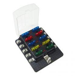 10 Way 12V Circuit Fuse Block - LED Indicators - Ring Terminals