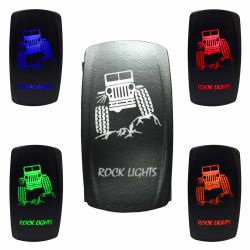 "Illuminated 50 Caliber Racing On/Off Rocker Switch with laser etched design - ""Rock Lights"" with Jeep"