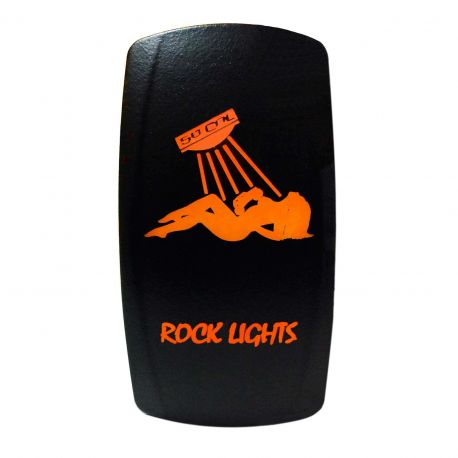 """Illuminated 50 Caliber Racing On/Off Rocker Switch with laser etched design - """"Rock Lights"""" with Sexy Girl"""