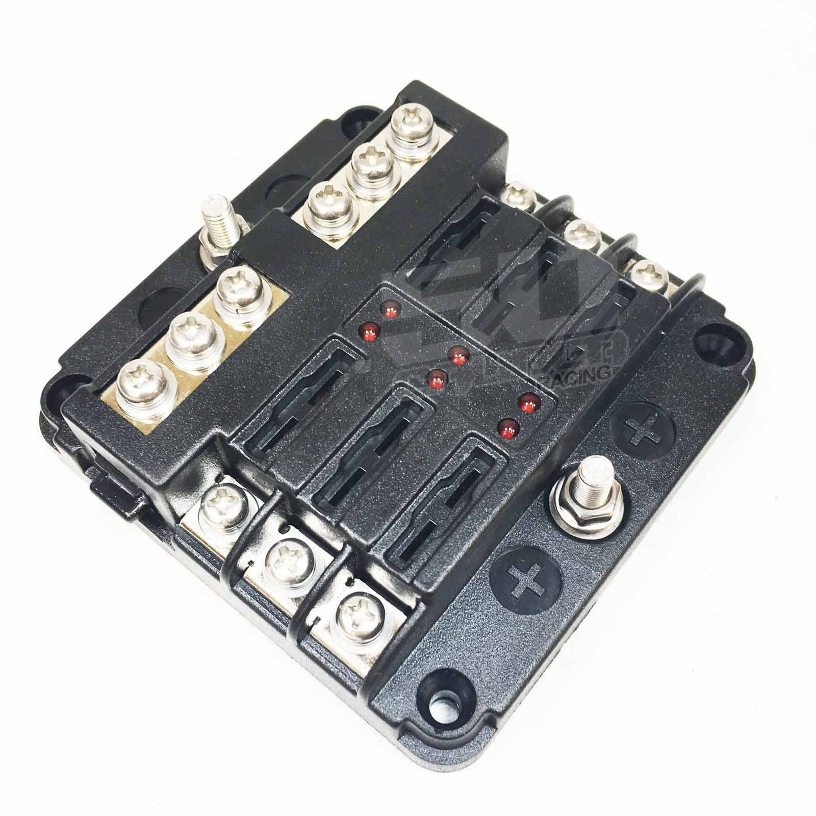 Universal 6 Way 12v Blade Fuse Box With Ground Terminal