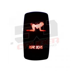 "Waterproof On/Off Rocker Switch Sexy Design ""Rear Lights"" with Red LED Illumination"