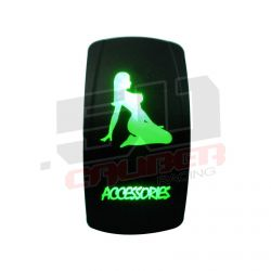 "Waterproof On/Off Rocker Switch Sexy Design ""Accessories"" with Green LED Illumination"