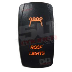 "Illuminated 50 Caliber Racing On/Off Rocker Switch with laser etched design - ""Roof Lights"" Orange"