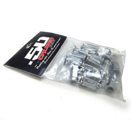 50 Caliber Racing - Set of 16 Chrome Flat Lug Nuts 12x1.5mm for RZR XP1000, S900/1000, Turbo, Can-Am X3, Honda Pioneer