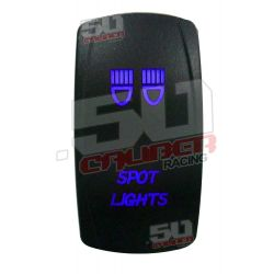 "Illuminated 50 Caliber Racing On/Off Rocker Switch with laser etched design - ""Spot Lights"" Blue LED"