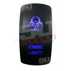 "Illuminated 50 Caliber Racing On/Off Rocker Switch with laser etched design - ""Zombie Lights"" LED"