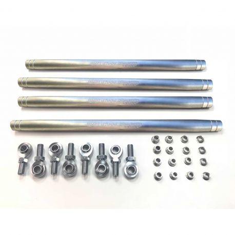 50 Caliber Racing Heavy Duty Radius Rod Kit for RZR XP Turbo - Raw Silver Finish -  Complete kit