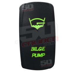 "Illuminated 50 Caliber Racing On/Off Rocker Switch with laser etched design - ""Bilge Pump"""