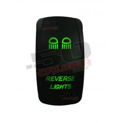 "Illuminated 50 Caliber Racing On/Off Rocker Switch with laser etched design - ""Reverse Lights"""