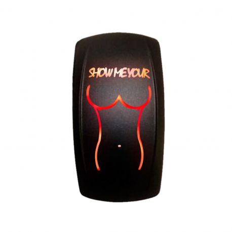 """On/Off Rocker Switch """"Show Me Your Tits"""" Sexy Girl Design Red"""