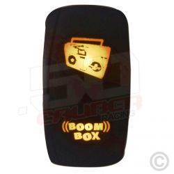"Illuminated 50 Caliber Racing On/Off Rocker Switch with laser etched design -""Boom Box"""