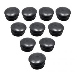 50 Caliber Black Plastic Roll Cage / Bumper End Cap Pipe Plugs - Pack of 10