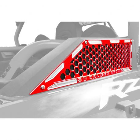Custom CNC Billet Air Intake Grille Bezels for RZR XP Turbo - Red Powdercoat Finish