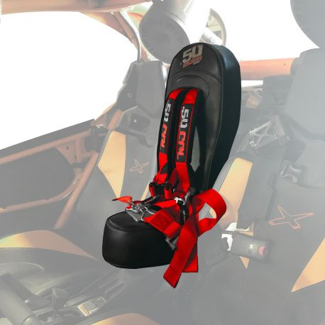"50 Caliber Racing Bump Seat Kit with 2"" Safety Harness for Can-am X3 - Red Harness"