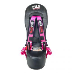 "50 Caliber Racing Bump Seat with 2"" Safety Harness for Polaris General 4 Seater - Pink Harness"