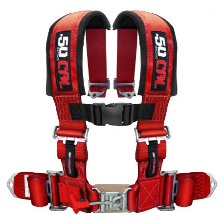 """50 Caliber Racing Universal 4 Point Safety Harness with 3"""" Wide Straps Red Color"""