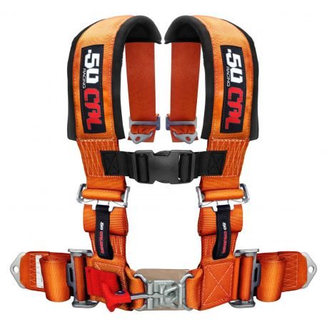 "50 Caliber Racing Universal 4 Point Safety Harness with 2"" Wide Straps Orange Color"