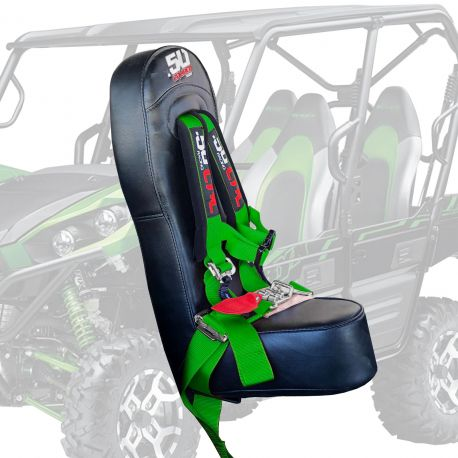 "50 Caliber Racing Rear Bump Seat with 2"" Safety Harness for Kawasaki Teryx 4 Seater - Green Harness"