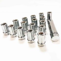 Chrome Spline Lug Nuts - 12x1.5mm Thread - Tapered Seat - Includes socket key - 16 Pack
