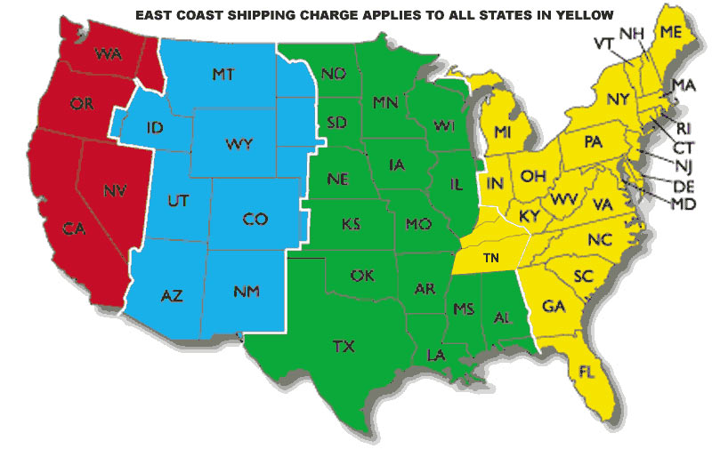 Shipping map lower 48 USA