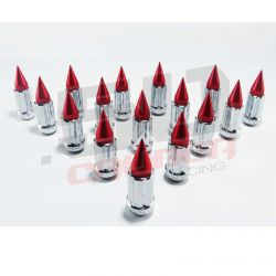 12 x 1.5 mm Chrome Spiked Lug Nuts Anodized - 16 Pack